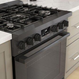 800 Series Dual Fuel Freestanding Range Width 76 cm, Black stainless steel HDS8045C
