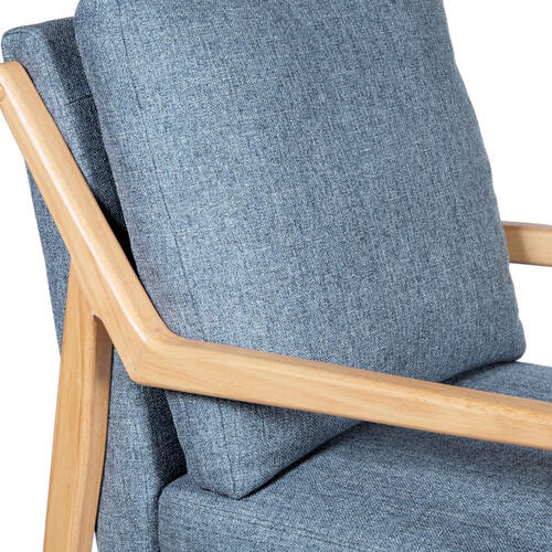 Mid-Mod Wood Framed Accent Chair in Denim Blue