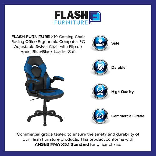 Gallery - X10 Gaming Chair Racing Office Ergonomic Computer PC Adjustable Swivel Chair with Flip-up Arms, Blue\/Black LeatherSoft