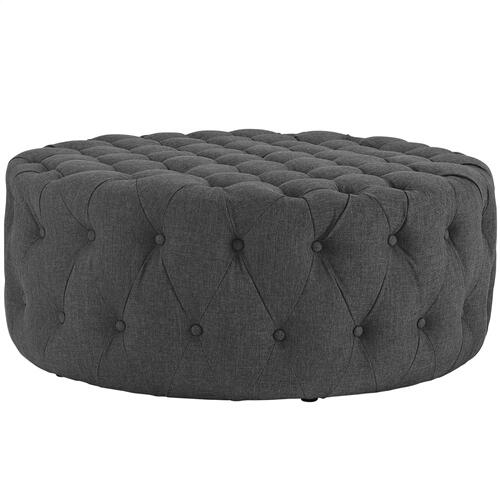 Amour Upholstered Fabric Ottoman in Gray