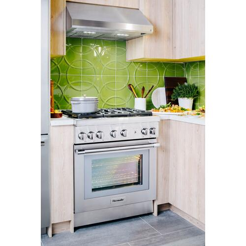Thermador - Low-Profile Wall Hood 30'' Stainless Steel HMWB30WS