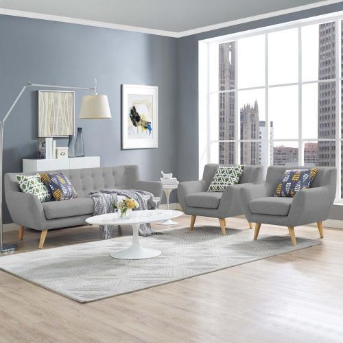 Remark 3 Piece Living Room Set in Light Gray