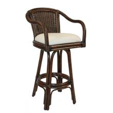 """View Product - Key Largo Indoor Swivel Rattan & Wicker 30"""" Bar Stool in Antique Finish with Cushion"""