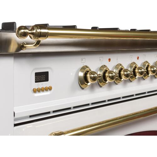 Nostalgie 30 Inch Dual Fuel Natural Gas Freestanding Range in White with Brass Trim