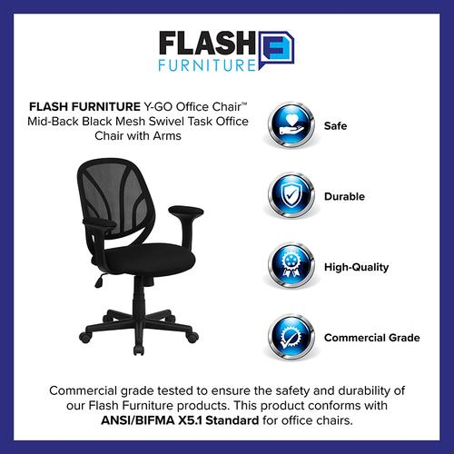 Gallery - Y-GO Office Chair™ Mid-Back Black Mesh Swivel Task Office Chair with Arms