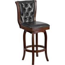See Details - 30'' High Cappuccino Wood Barstool with Button Tufted Back and Black LeatherSoft Swivel Seat