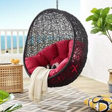 Encase Swing Outdoor Patio Lounge Chair Without Stand in Black Red