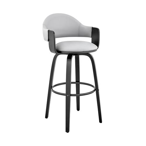 """Armen Living - Daxton 26"""" Gray Faux Leather and Black Wood Bar Stool"""