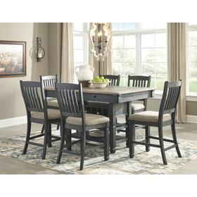 Tyler Creek Counter Height Table & 6 Barstools Black/Gray