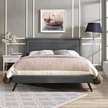 Virginia Full Fabric Platform Bed with Round Splayed Legs in Gray