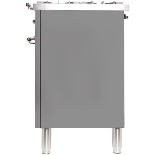 Nostalgie 30 Inch Dual Fuel Natural Gas Freestanding Range in Stainless Steel with Bronze Trim
