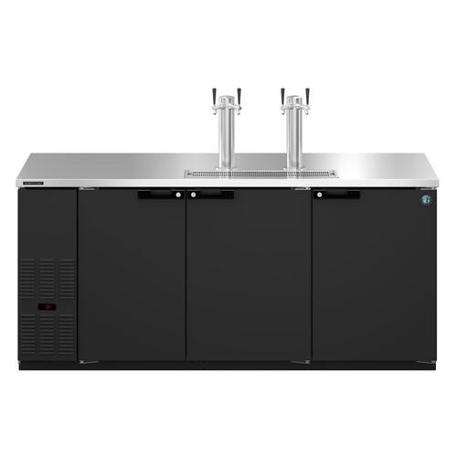 HDD-3-80, Refrigerator, Three Section, Black Vinyl Back Bar Direct Draw, Solid Doors