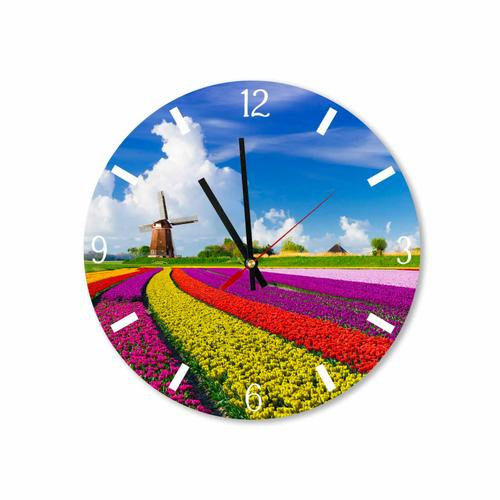 Grako Design - Amsterdam Tulips Fields Round Square Acrylic Wall Clock