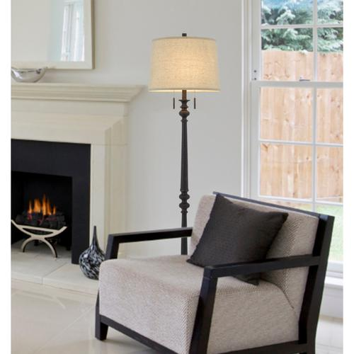 60W x 2 Torrington resin floor lamp with pull chain switch and hardback linen shade