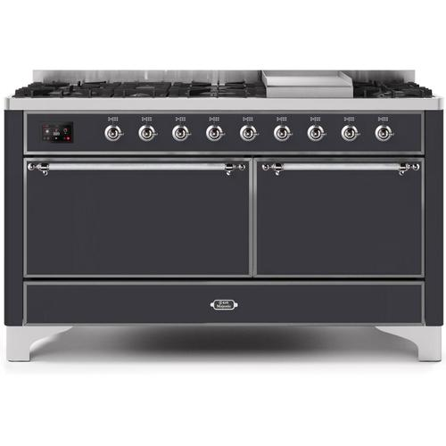 Majestic II 60 Inch Dual Fuel Natural Gas Freestanding Range in Matte Graphite with Chrome Trim