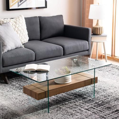 Safavieh - Kayley Glass Coffee Table - Glass / Natural Brown