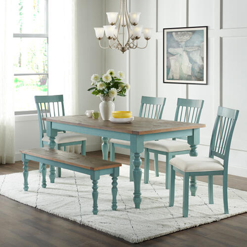 Slat Back Farmhouse Dining Chair in Cloudy Blue