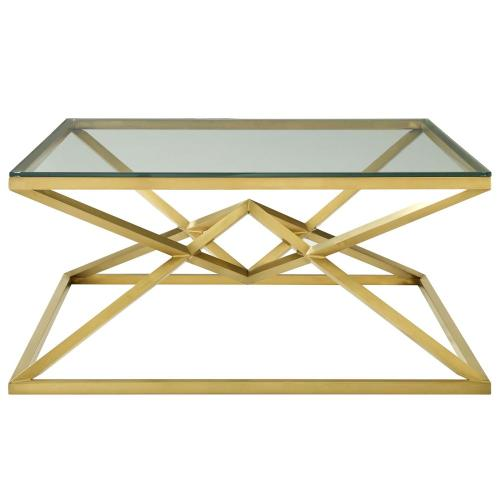 "Point 39.5"" Brushed Gold Metal Stainless Steel Coffee Table in Gold"