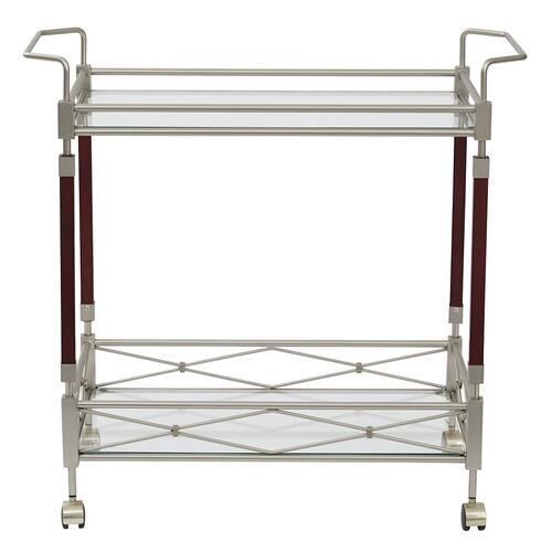 Melrose Serving Cart With Nickel Brush Metal Frame