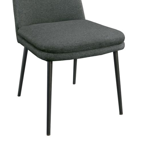 Modern Upholstered Dining Chair in Dark Grey (2pc)