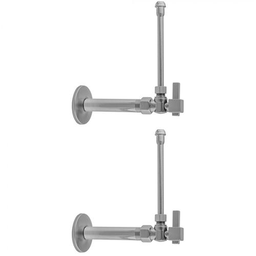 """Polished Nickel - Quarter Turn Angle Pattern 3/8"""" IPS x 3/8"""" O.D. Faucet Supply Kit with Square Lever 20"""" Supply Tubes, Escutcheons"""