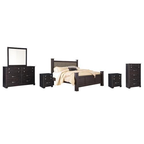 King Poster Bed With Mirrored Dresser, Chest and 2 Nightstands