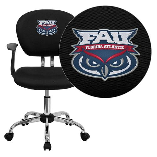 Florida Atlantic University Owls Embroidered Black Mesh Task Chair with Arms and Chrome Base
