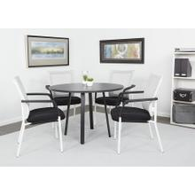"Prado 42"" Round Conference Table With Black Laminate Top and Black Finish Metal Legs"