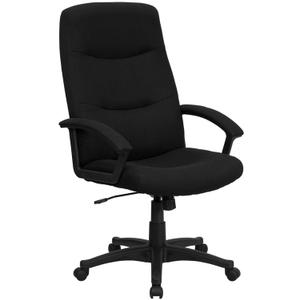 Gallery - High Back Black Fabric Executive Swivel Office Chair with Two Line Horizontal Stitch Back and Arms