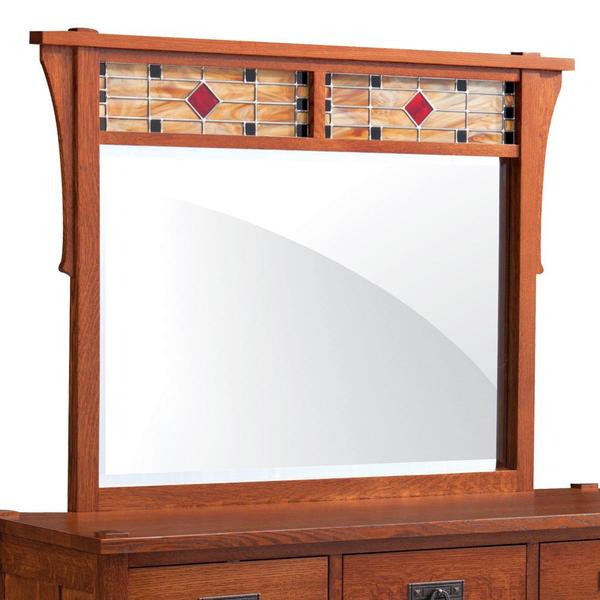 See Details - Grant Mule Chest Mirror with Stained Glass