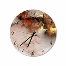 Gold Abstract Clouds Round Square Acrylic Wall Clock