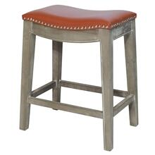 Elmo Bonded Leather Counter Stool Mystique Gray Frame, Pumpkin