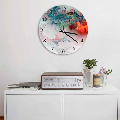 Grako Design - Blue Red Clouds Abstract Round Square Acrylic Wall Clock