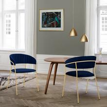 Nara Modern Blue Velvet and Gold Metal Leg Dining Room Chairs - Set of 2