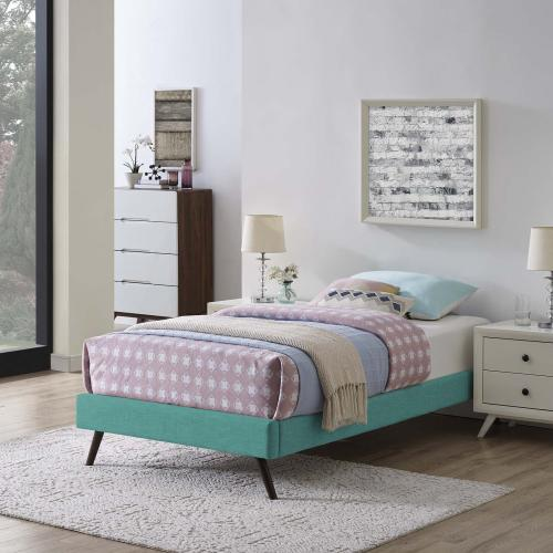Modway - Loryn Twin Fabric Bed Frame with Round Splayed Legs in Teal