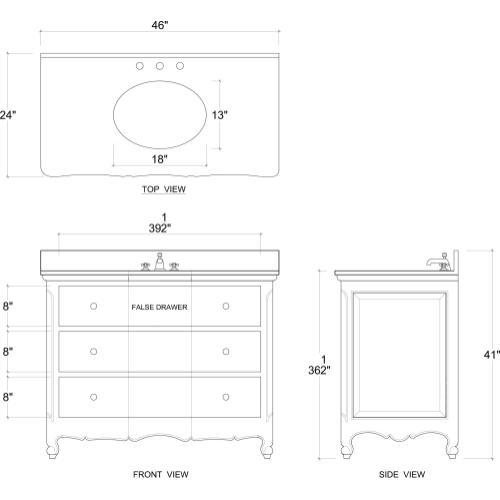 Provence Single Vanity w/ Sink & Marble top