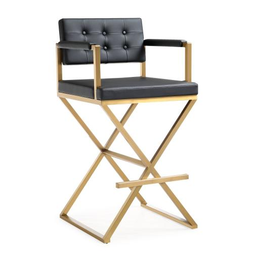 Tov Furniture - Director Black Gold Steel Barstool