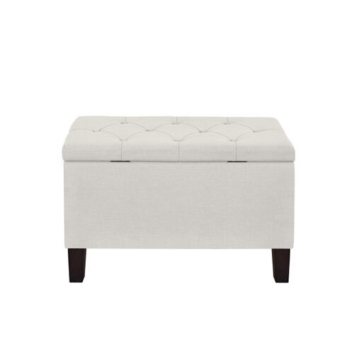Accentrics Home - 29 Inch Hinged Top Storage Bench w/ Diamond Tufted Seat in Light Gray