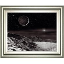 Pluto and Charon-noir By David A Hardy