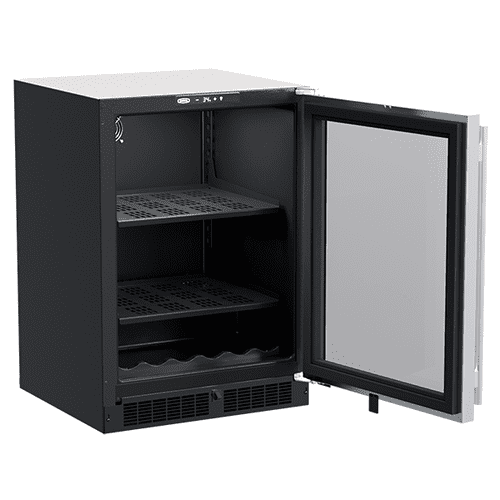 24-In Built-In Beverage Center With Wine Cradle with Door Style - Stainless Steel Frame Glass