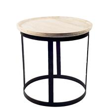 Agate II (Small) 12L x 12W Natural Round Wood Top W/Black Metal Accent Table