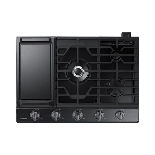 "30"" Smart Gas Cooktop with Illuminated Knobs in Black Stainless Steel"