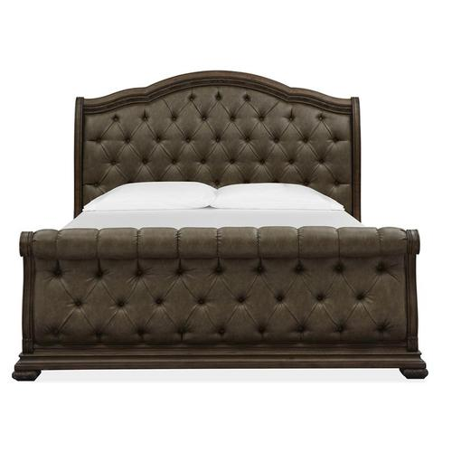 Complete Queen Sleigh Upholstered Bed