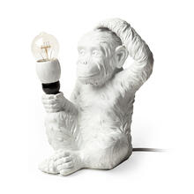 """See Details - Simia (12""""H) White Resin Playful Monkey Table Lamp"""