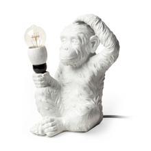 "Simia (12""H) White Resin Playful Monkey Table Lamp"