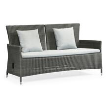 """See Details - 70"""" Grey Wicker Rattan Two-Seat Sofa with Reclining Back, Upholstered in COM"""