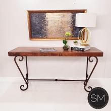 """See Details - Console Table with a premier quality Hammer Copper Top + Vintage iron -1216 C - 72"""" x 24"""" / Oxidized Hammer / Chocolate Espresso"""
