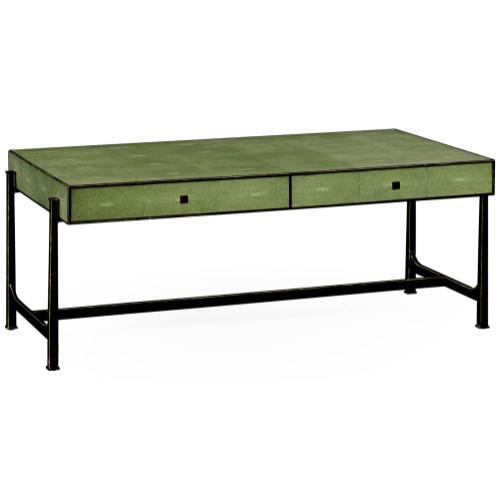 Green faux shagreen bronze coffee table