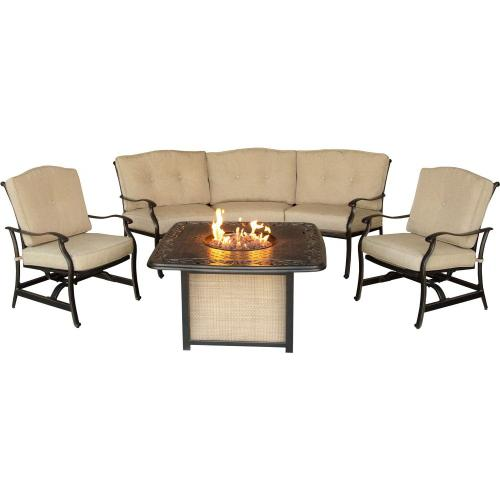Hanover Traditions 4-Piece Outdoor Lounge Set with Cast-Top Fire Pit, TRADITIONS4PCFP