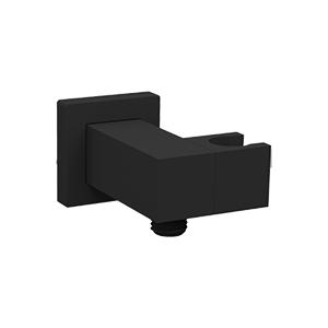 Adjustable Hand Shower Holder and Outlet Elbow SQU Black